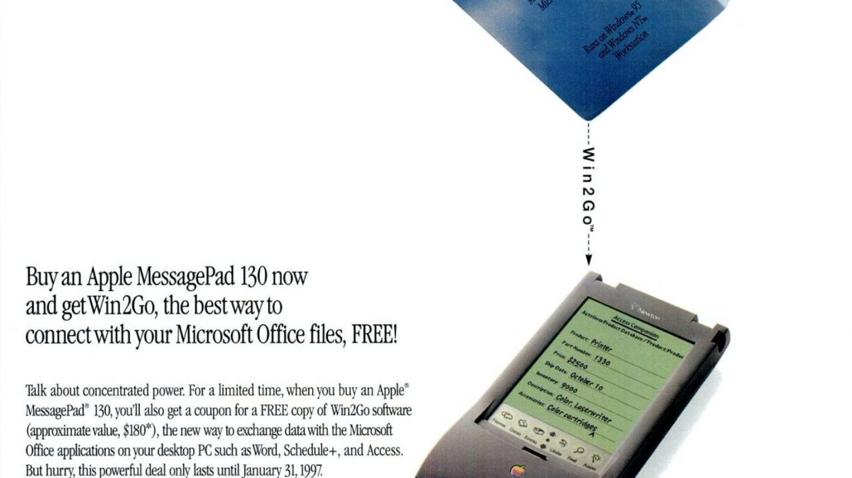 Apple 14997 ad Win2Go office on MessagePad Newton