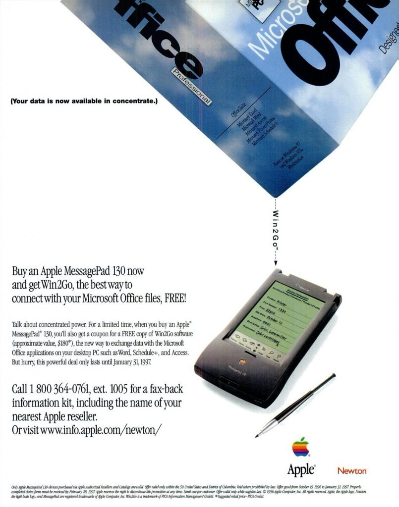 Apple 14997 ad Win2Go office on MessagePad Newton
