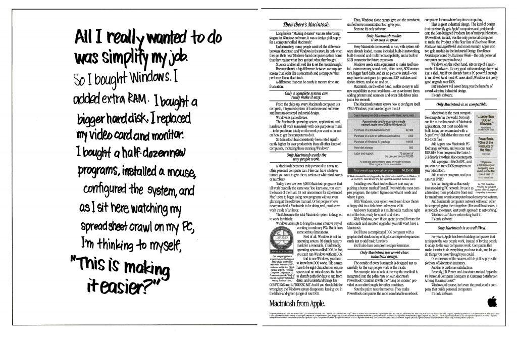 Apple 1992 ad. Windows. Making it easier ?