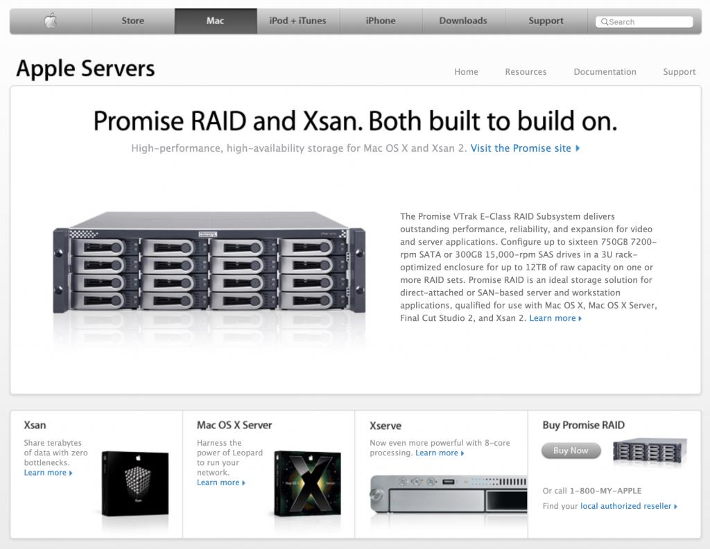 RAID Promise and Xsan Apple