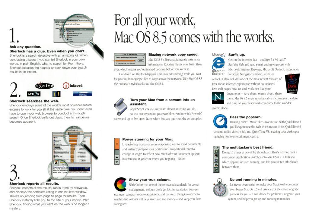 Brochure anglaise pour Appel Mac OS 8.5 avec Sherlock