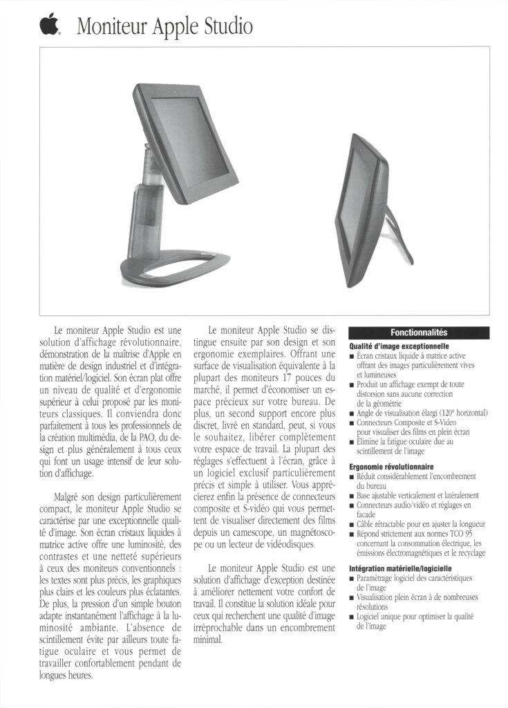 Brochure APple France Apple Studio Display 1998