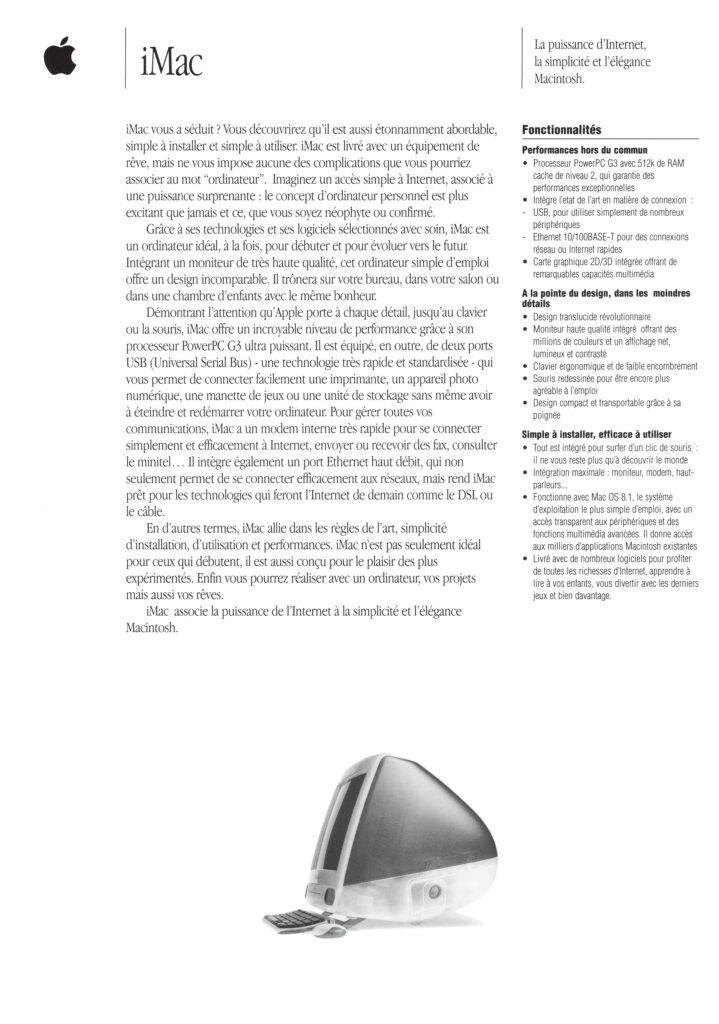Brochure Apple France iMac 1998