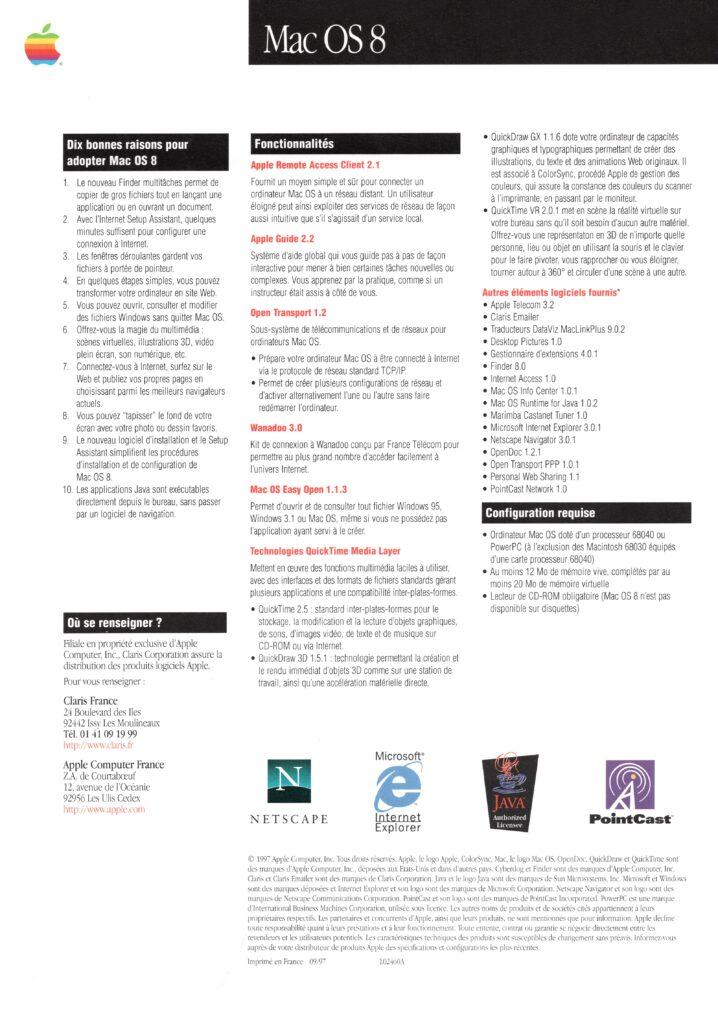 Brochure française Apple Mac OS 8