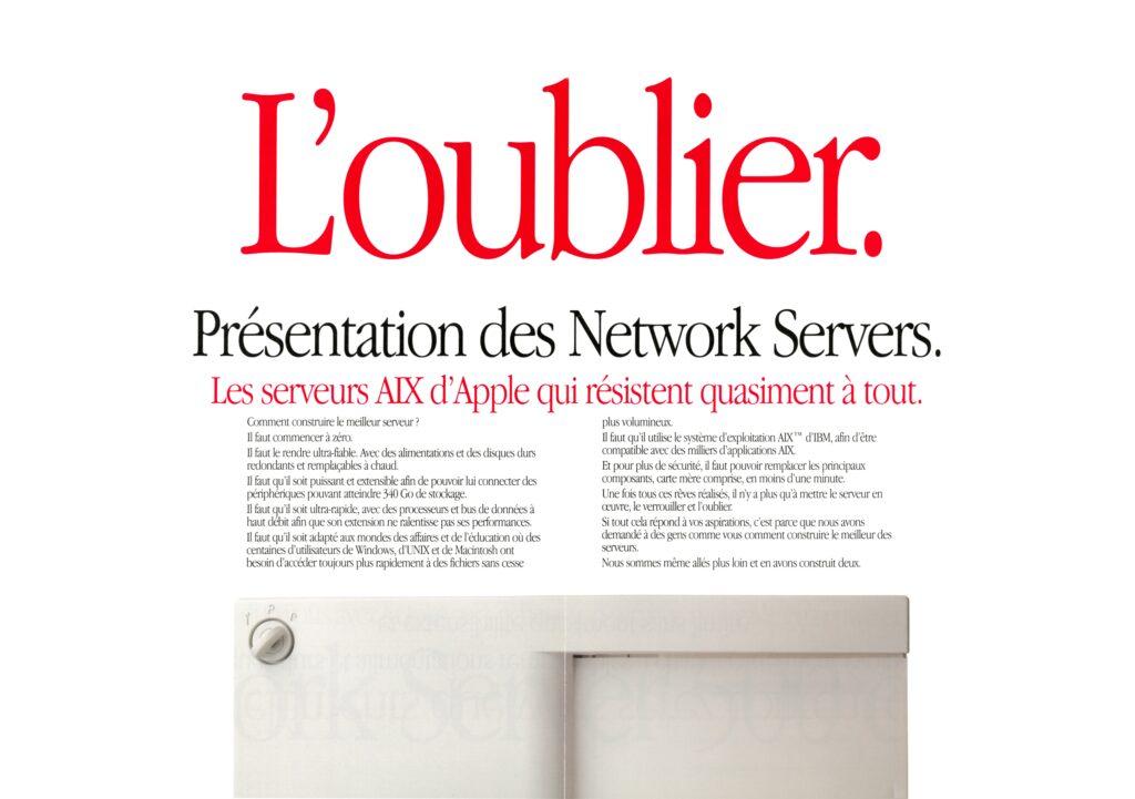 Publicité Apple Network Server France 2016